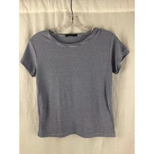 BRANDY MELVILLE White Baby Blue Short Sleeve Top